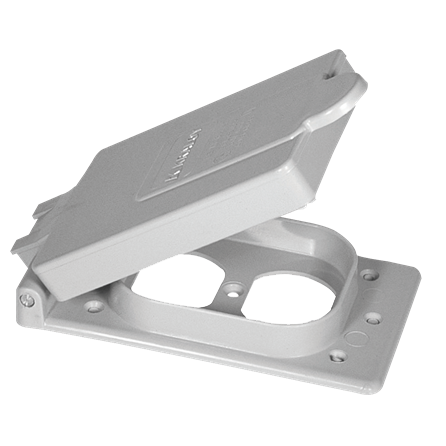 "PVC ""F"" Series Weatherproof 1-Gang Duplex Receptacle Cover - Grey"