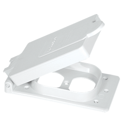 "PVC ""F"" Series Weatherproof 1-Gang Duplex Receptacle Cover - White"