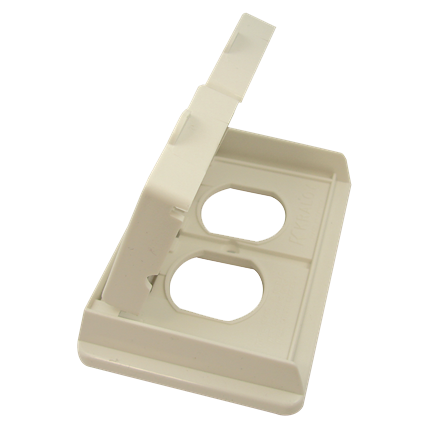 "PVC ""F"" Series Weatherproof 1-Gang Duplex Receptacle Cover Double Door - White"